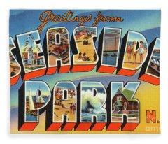 Seaside Park Greetings Fleece Blanket