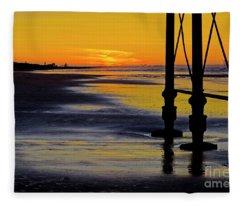 Seaside Sunset At Saltburn Fleece Blanket