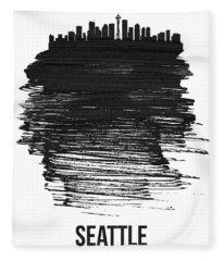 Seattle Skyline Brush Stroke Black Fleece Blanket