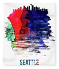 Seattle Skyline Brush Stroke Watercolor   Fleece Blanket
