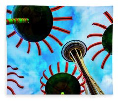 Seattle Space Needle And Flower Sculptures Fleece Blanket