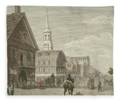Second Street North From Market St. And Christ Church Fleece Blanket