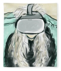 Self Portrait With Vr Headset  Fleece Blanket