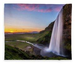 Seljalandsfoss At Sunset Fleece Blanket