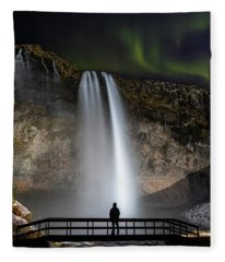 Seljalandsfoss Northern Lights Silhouette Fleece Blanket