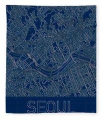 Seoul Blueprint City Map Fleece Blanket
