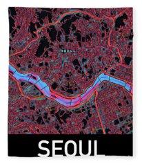 Seoul City Map Fleece Blanket