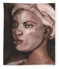 Sepia Woman Fleece Blanket