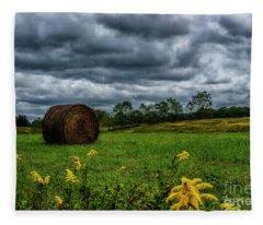 September Stormy Sky Hay Bale Fleece Blanket