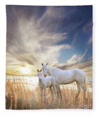 Fleece Blanket featuring the digital art Serene Sunset by Melinda Hughes-Berland