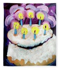 Seven Candle Birthday Cake Fleece Blanket