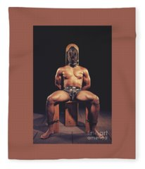 Sexy Man Tiedup On A Bdsm Chair Fleece Blanket