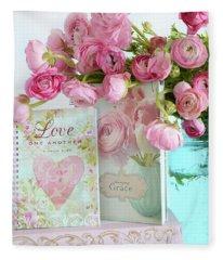Shabby Chic Romantic Ranunculus Pink Floral Print - Love And Grace Pink Flowers Mason Jars Fleece Blanket