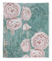 Shabby Chic Roses Distressed Fleece Blanket