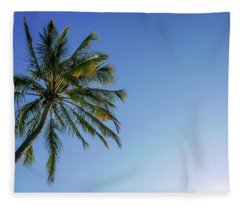 Shades Of Blue And A Palm Tree Fleece Blanket