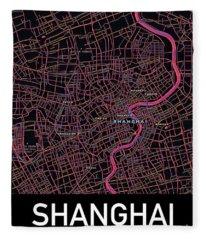 Shanghai City Map Fleece Blanket
