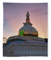 Fleece Blanket featuring the photograph Shanti Stupa by Whitney Goodey