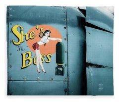 She's The Boss, World War 2 Navy Avenger Torpedo Bomber Fleece Blanket