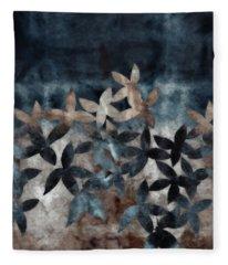 Shibori Leaves Indigo Print Fleece Blanket