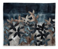 Shibori Leaves Indigo Print Fleece Blanket