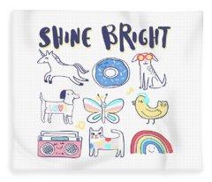 Shine Bright - Baby Room Nursery Art Poster Print Fleece Blanket