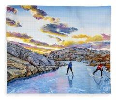 Shinny At Rock Pool Pond Fleece Blanket
