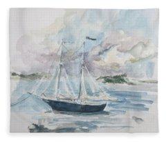 Ship Sketch Fleece Blanket