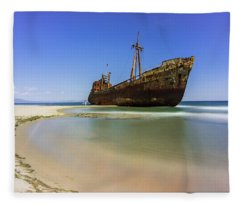 Shipwreck Dimitros Near Gythio, Greece Fleece Blanket