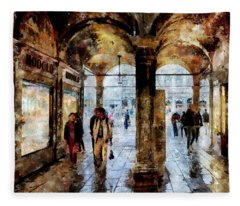 Shopping Area Of Saint Mark Square In Venice, Italy - Watercolor Effect Fleece Blanket