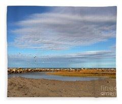 Shoreside Serenity Cape Cod Fleece Blanket