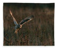 Short Eared Owl Liftoff Fleece Blanket