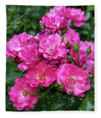 Shrub Rose Stylized Fleece Blanket
