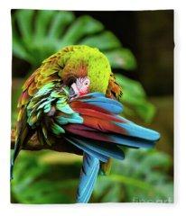 Shy Parrot Fleece Blanket