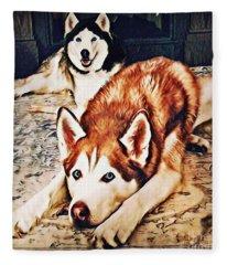 Siberian Huskies At Rest A22119 Fleece Blanket