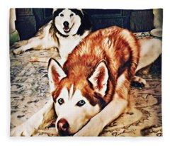 Siberian Huskies At Rest A22119 Fleece Blanket