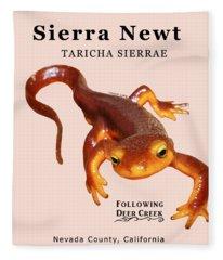 Sierra Newt - Black Text Fleece Blanket