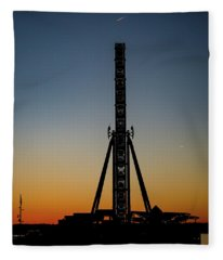 Silhouette Of A Ferris Wheel Fleece Blanket