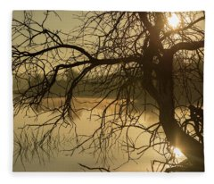 Silhouette Of A Tree By The River At Sunrise Fleece Blanket