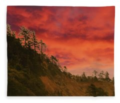 Silhouette Of Conifer Against  Seacoast  Fleece Blanket