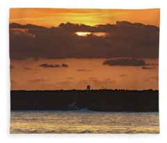 Silhouettes, Breakwall And Sunrise Seascape Fleece Blanket