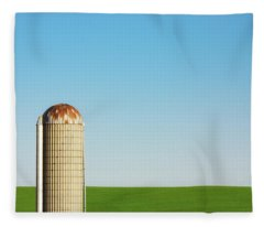 Silo On Blue And Green Fleece Blanket