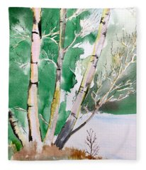 Silver Birch In Snow Fleece Blanket