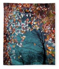 Silver Maple In Orange Fleece Blanket