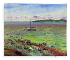 Silver Shores Seascape Fleece Blanket