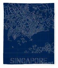 Singapore Blueprint City Map Fleece Blanket