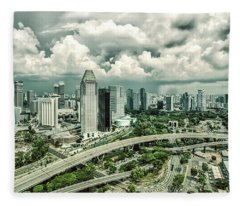 Fleece Blanket featuring the photograph Singapore by Chris Cousins
