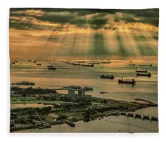 Fleece Blanket featuring the photograph Singapore Harbour by Chris Cousins