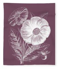 Single Dahlias Purple Flower Fleece Blanket