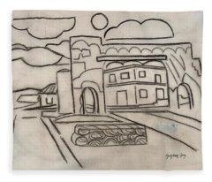 Sketch Of Arch Laguna Del Sol Fleece Blanket