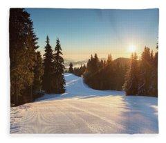 Ski Slope Without Skiers Fleece Blanket